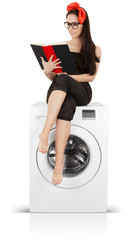 Cute Girl Reading a Book on a Washing Machine