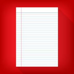 notebook paper isolated red background empty message