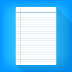 notebook paper isolated blue background empty message