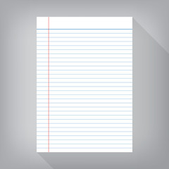 notebook paper isolated gray background empty message