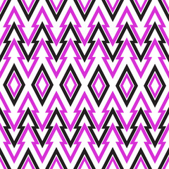 Seamless  Geometric Triangular Zigzag Pattern. Black and purple.