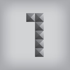 1 number one alphabet geometric icon and sign triangle modern wh