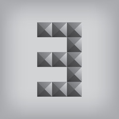 3 number three alphabet geometric icon and sign triangle modern