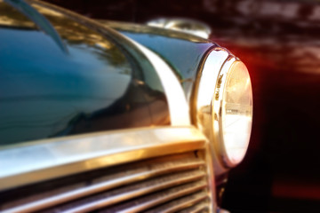 Retro design of vintage car, colorful soft and blur concept