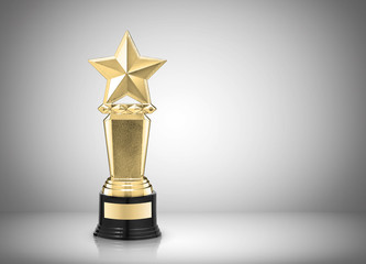 Golden star award on gray background