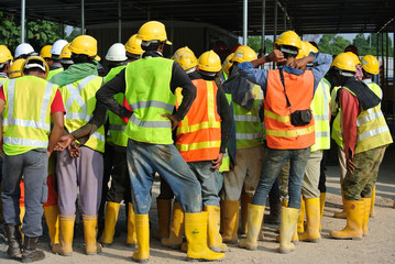 Group of construction assemble at the open space.