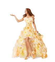 Woman Flower Long Dress, Girl Advertise Empty Hand, Fashion
