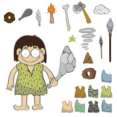 Stone age people cartoon vector, illustration