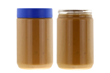 Jars full of of creamy crunchy peanut butter