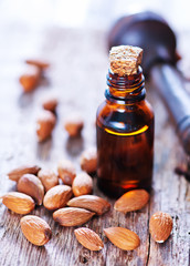 almond oil in a glass bottle