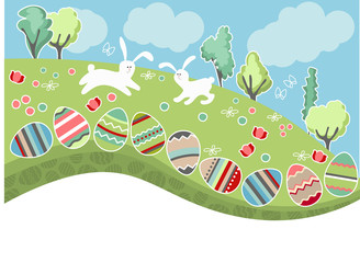 Meadow with easter eggs and rabbits