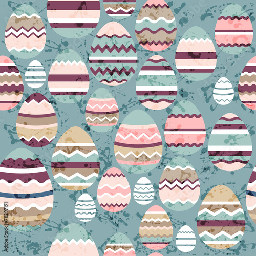 Cotton fabric Seamless blue pattern with easter eggs