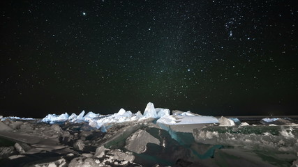 Star sky rotating above ice at night. Time lapse