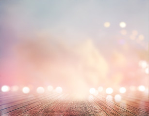 vibrant wooden floor and sky pastel bokeh for background