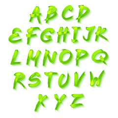 Floral alphabet on green background, vector format spring