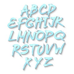 Handwritten blue watercolor alphabet symbols. Vector