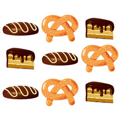 Bagel and cake color vector illustration.
