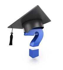 graduation cap under question mark. 3d illustration