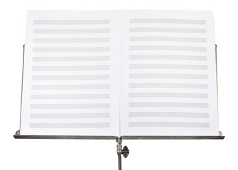 blank double pages of music book on stand close up
