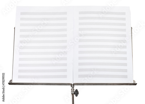 blank double pages of music book on stand close up - 78299512