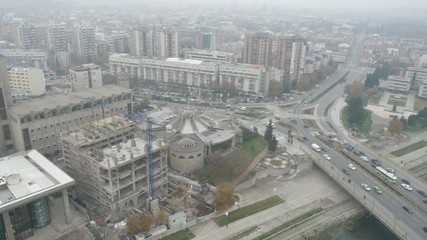 Aerial view of Macedonian capital city Skopje