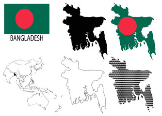 Bangladesh - Contour maps, National flag and Asia map vector