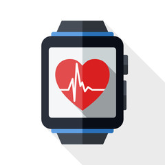 Smart watch with health app icon and long shadow on white backgr