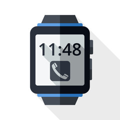 Smart watch icon with long shadow on white background