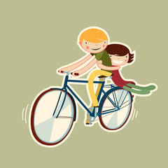 couple riding bike. vector character isolated