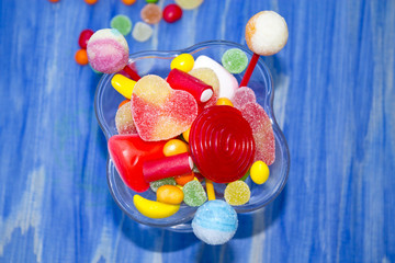 jelly beans on blue background