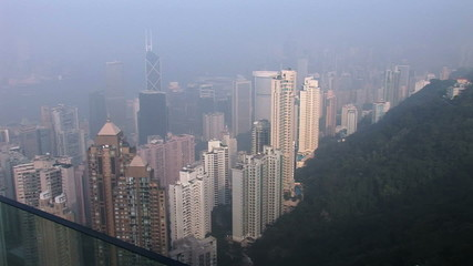 Daytime view of Hong Kong and Kowloon from Victoria Peak