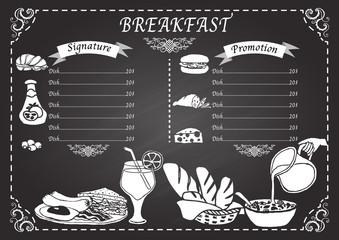 Hand drawn breakfast on chalkboard menu design template