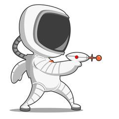 Astronaut with blaster