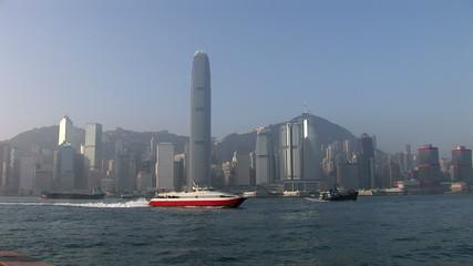 Dawn in HongKong harbor looking from Kowloon