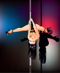 Pole dancer upside down