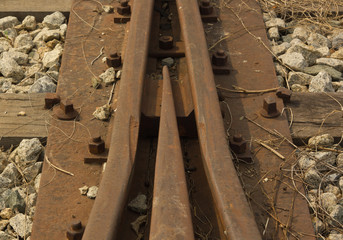 Detail of an abandoned railway tracks