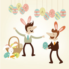 Office Easter party with business man enjoy the festive.