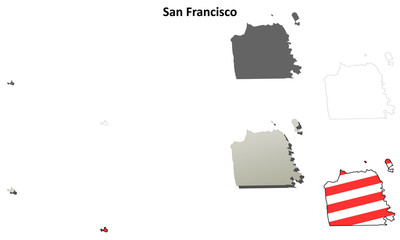 San Francisco County (California) outline map set