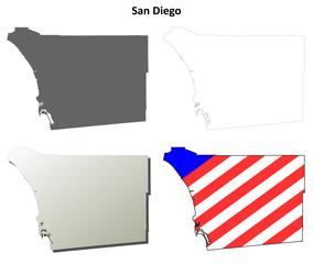 San Diego County (California) outline map set