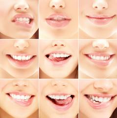 Grimace.Close-up body part portrait of beautiful woman's lips