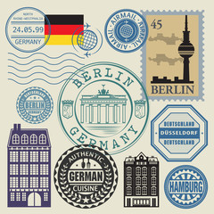 Travel stamps set, vector illustration
