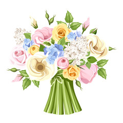 Bouquet of colorful roses, lisianthus and lilac flowers. Vector
