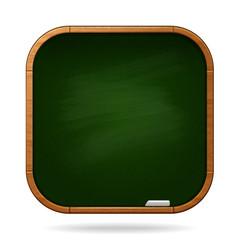 green school board with piece of chalk
