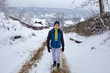 Teenager boy at countryside on wintertime