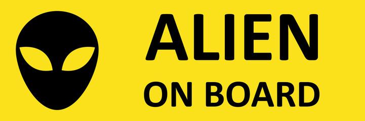 Vector sticker alien on board.