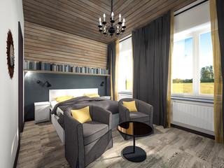 guest bedroom in a wooden casing 3d rendering
