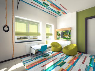 colored bright playroom