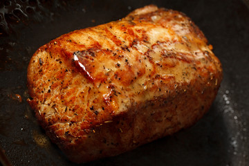 Steak fried in the pan.