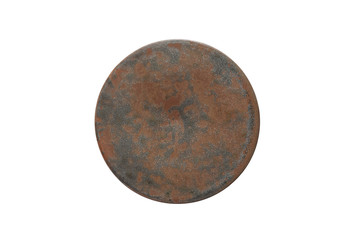 Antique ceramic coasters isolated on white background (Top view)