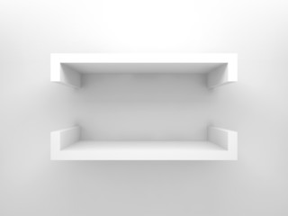 3d design element, empty white shelf with soft shadows